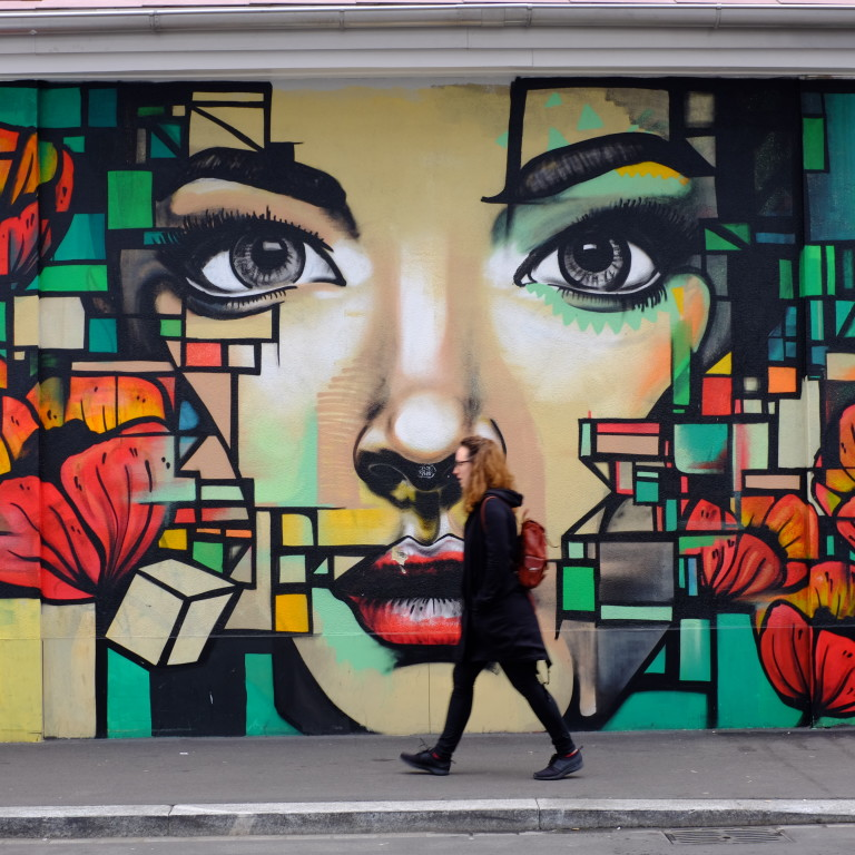mural of woman's face