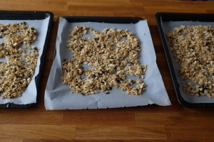 granola on baking trays