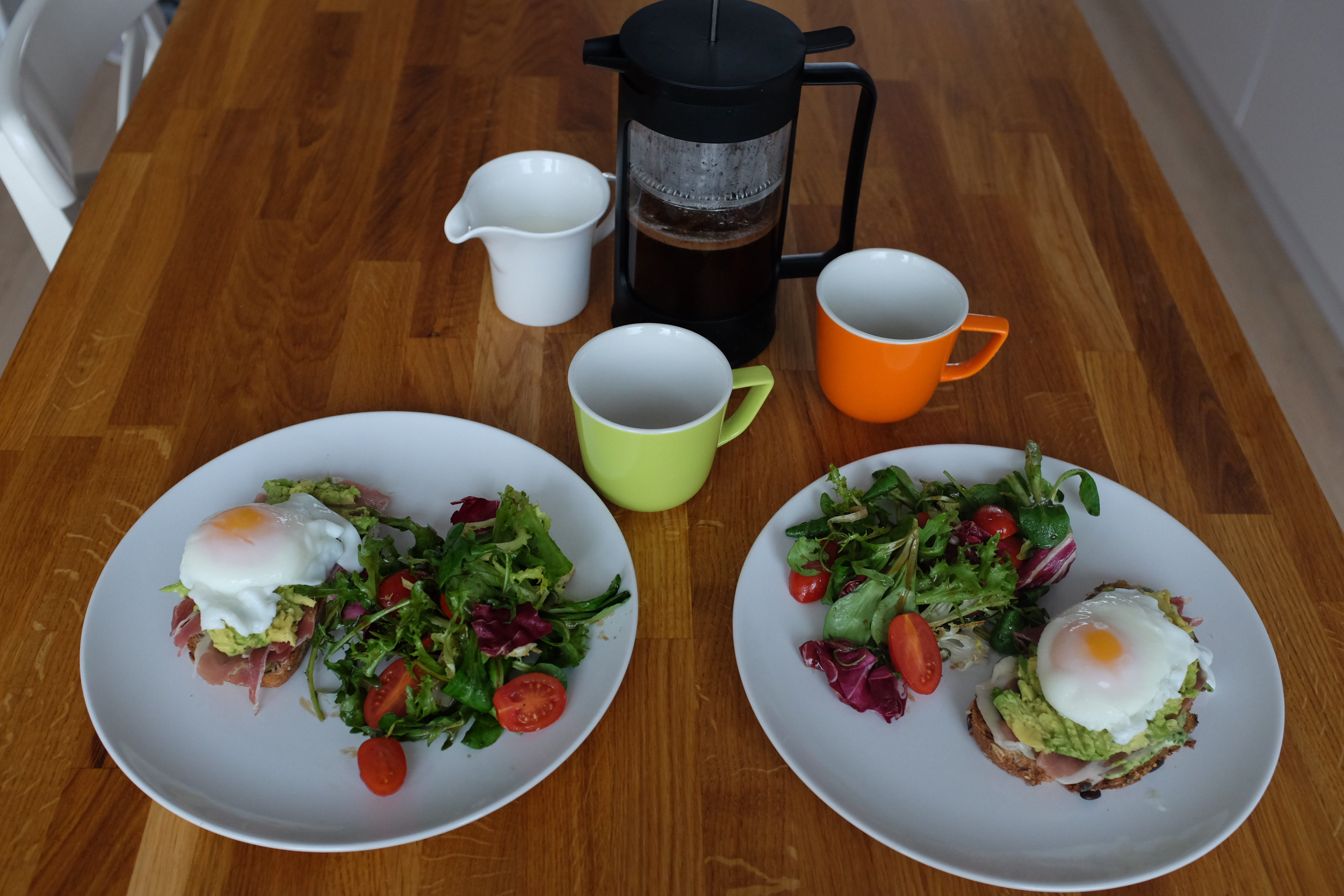 Eggs on toast with salad and coffee