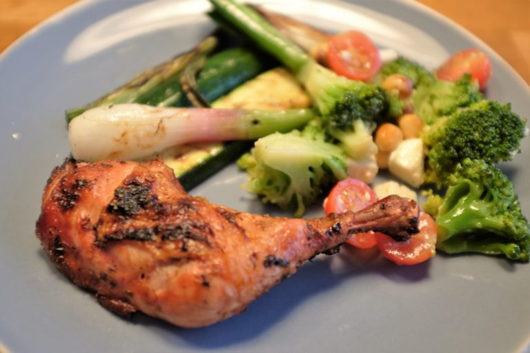BBQ Chicken with vegetables and brocolli salad