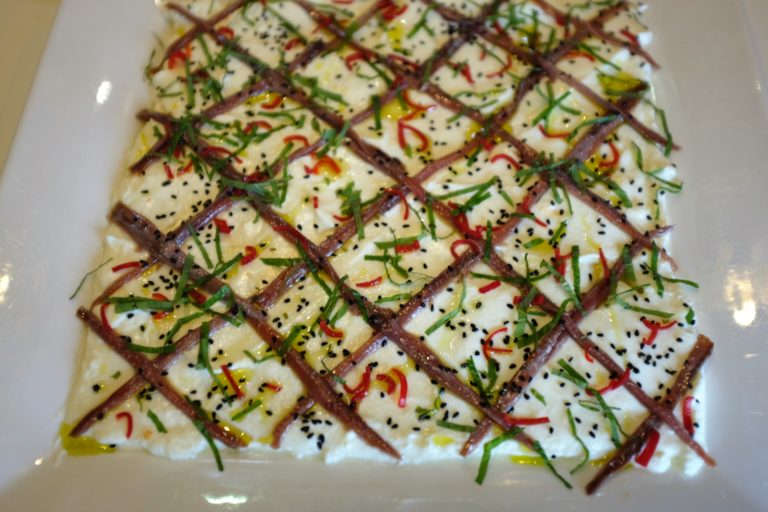 labneh with anchovies and chilli