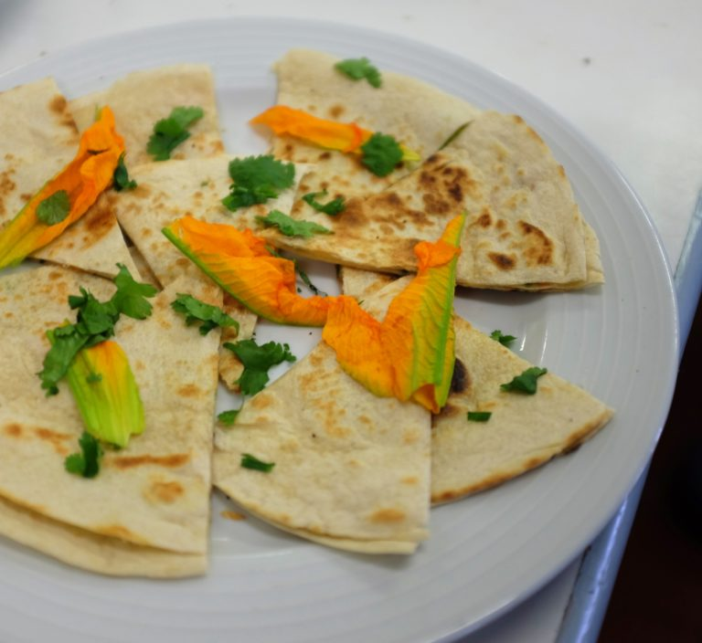 Courgette flower, cheese and chilli quesadillas