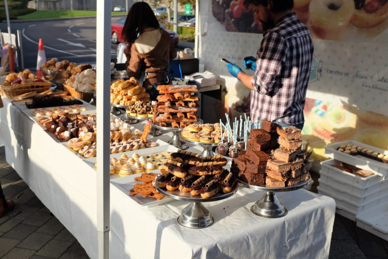Cakes and biscuits at Mahon Point Market